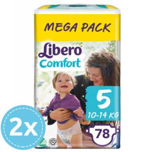 2x Libero Comfort nadrágpelenka 5 (10-14 kg) Mega Pack 78 db (156 db)
