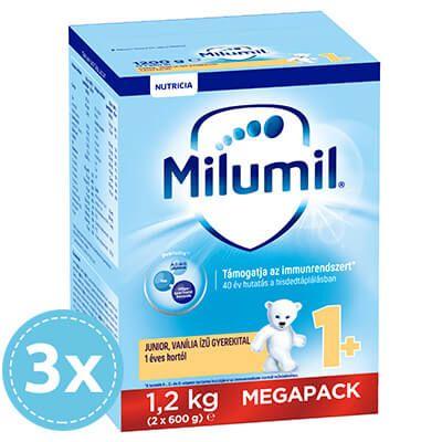3x Milumil Junior 1 Vaníliás gyerekital 12 hó+ 1200 g (3600 g)