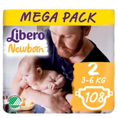 Libero Newborn nadrágpelenka 2 (3-6 kg) Mega Pack 108 db
