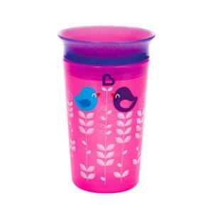 Munchkin Miracle® 360ᵒ Deco Automatikusan zárodó ivópohár 266ml 12 hó (rózsaszín madar)