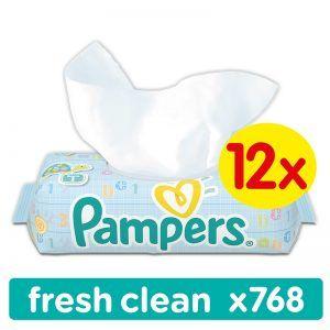 Pampers Wipes Fresh Clean Törlőkendő 12x 64 db (768 db)