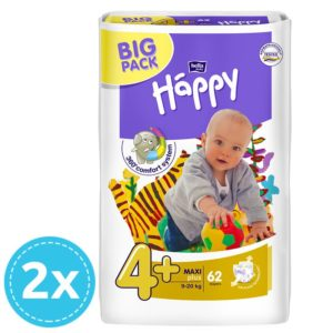 2x Bella Baby Happy pelenka Big Pack 4+ Maxi+ (9-20 kg) 62 db (124 db)