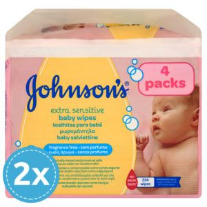 JOHNSON'S Baby Extra Sensitive Törlőkendő 4x 56 db (448 db)