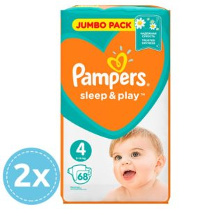 2 x Pampers Sleep & Play nadrágpelenka (4) Maxi 68 db (9-14 kg) - Jumbo Pack