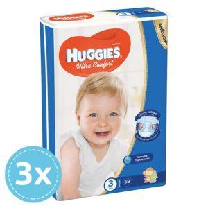 3x HUGGIES Ultra Comfort Nadrágpelenka 3 Midi (5-8 kg) 58 db (174 db)