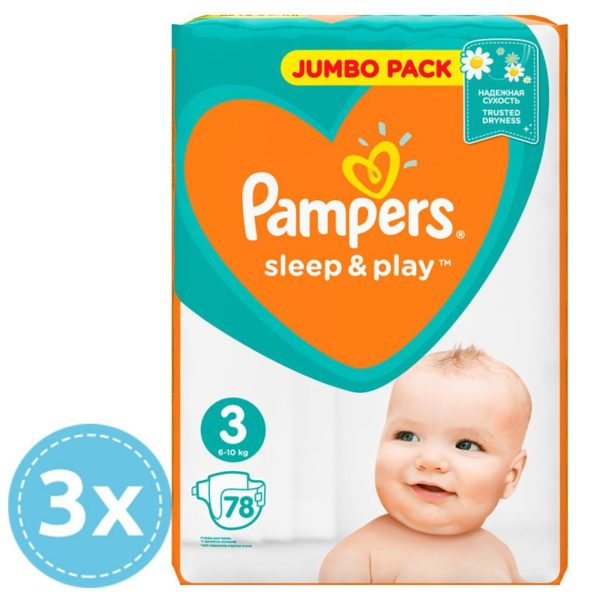 3 x Pampers Sleep & Play pelenka (3) Midi 78 db (5-9 kg) - Jumbo Pack 234 db pelenka