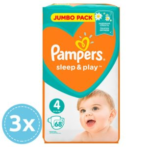 3x Pampers Sleep & Play Nadrágpelenka 4 Maxi (9-14 kg) 68 db (204 db)