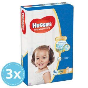 3x HUGGIES Ultra Comfort Nadrágpelenka 4+ Maxi+ (10-16 kg) 46 db (138 db)