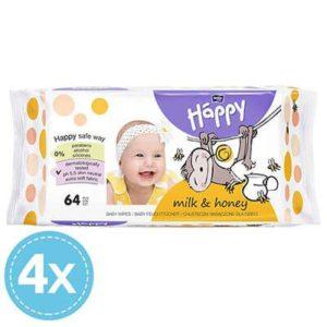 Bella Baby Happy Milk & Honey Nedves törlőkendő 4x 64 db (256 db)