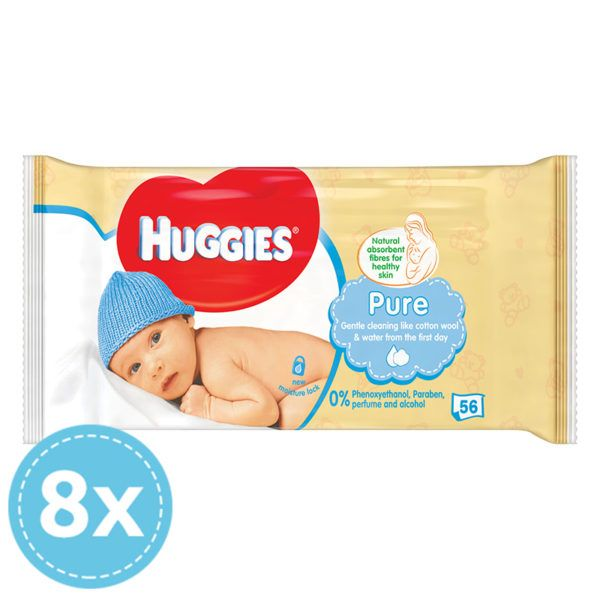 HUGGIES Pure Törlőkendő 8x 56 db (448 db)
