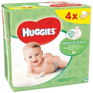 HUGGIES Natural Care Törlőkendő Aloe Veraval 4x 56 db (224 db)