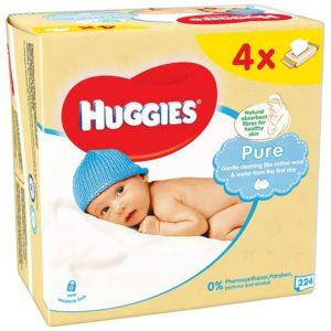 HUGGIES Pure Nedves Törlőkendő 4x 56 db (224 db)