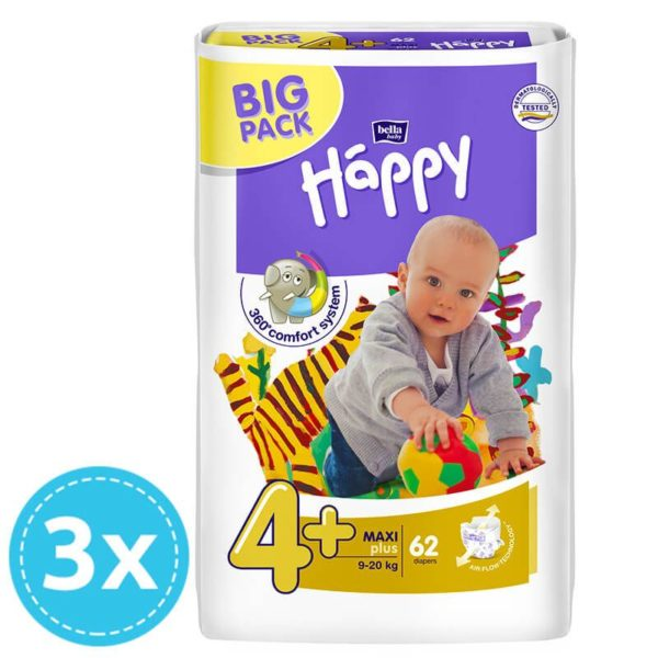 3x Bella Baby Happy pelenka Big Pack 4+ Maxi+ (9-20 kg) 62 db (186 db)