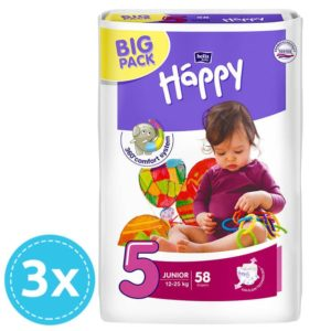 3x Bella Baby Happy pelenka Big Pack 5 Junior (12-25 kg) 58 db (174 db)