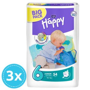 3x Bella Baby Happy pelenka Big Pack 6 Junior Extra (16+ kg) 54 db (162 db)