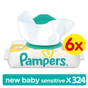 6x Pampers New Baby Sensitive törlőkendő 54 db (324 db)