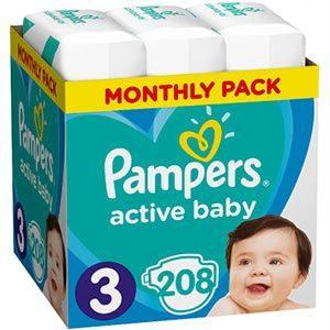 Pampers Active Baby Nadrágpelenka 3-as méret (6-10 kg) 208 db - Havi pelenkacsomag