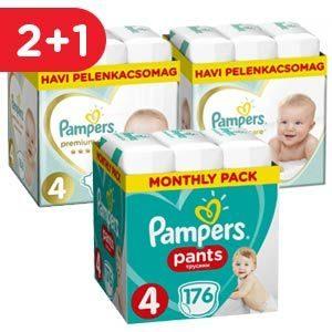 Pampers Pants & Premium Care Havi Pelenkacsomag - 2+1 akció