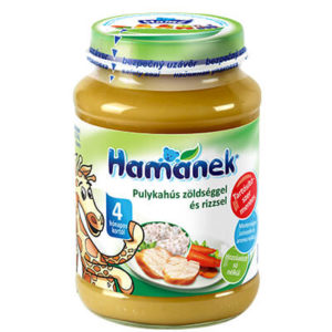 Hamánek Bébiétel Pulykahús zöldséggel és rizzsel 190 g 4 hó+