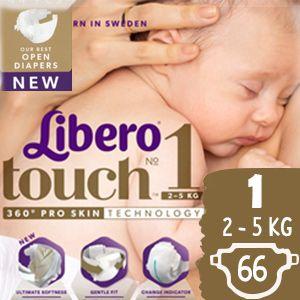 Libero Touch Nadrágpelenka 1 (2-5 kg) 3x 22 db (66 db)