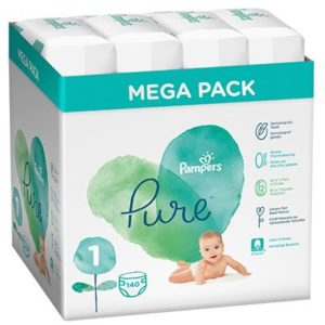 Pampers Pure Protection Pelenka 1-es méret (2-5 kg) 140 db - Megabox