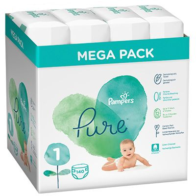 Pampers Pure Protection Pelenka 1-es méret (2-5 kg) 140 db – Mega Pack