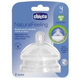 Chicco Natural Feeling változtatható folyású etetőcumi 4 hó+ 2 db doboz