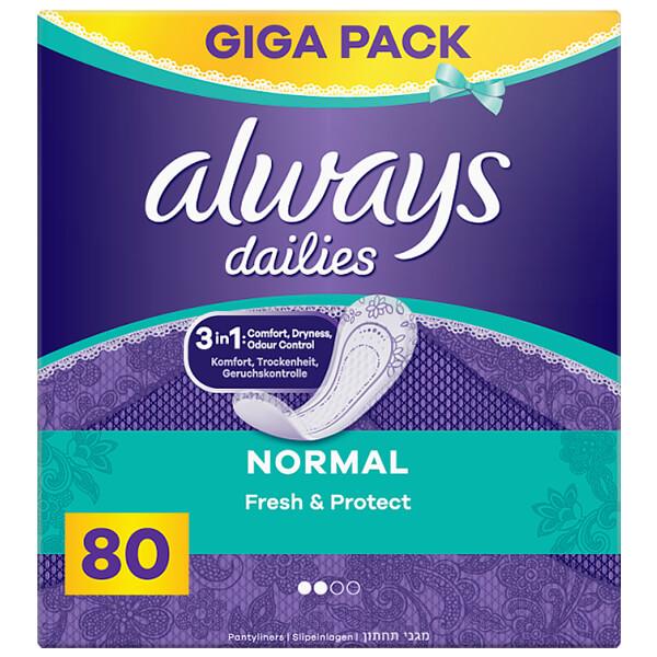 Always Dailies Fresh & Protect Normal Tisztasági Betét 80 db
