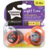 Tommee Tippee Closer To Nature Night éjszakai cumi 0-6 hó (2 db) ezüst, narancs csomagolas