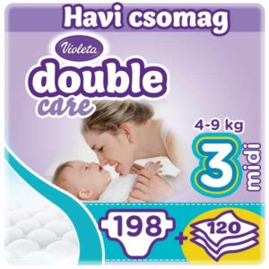 Violeta Double Care 3-as Nadrágpelenka (4-9 kg) 198 db + 120 db törlőkendő