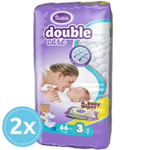Violeta Double Care Nadrágpelenka 3-as méret (4-9 kg) 132 db + 80 db Sensitive törlőkendő