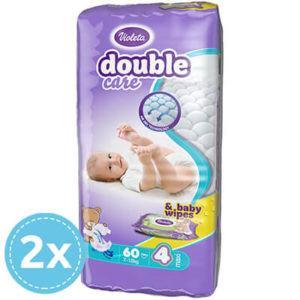 Violeta Double Care Nadrágpelenka 4-es méret (7-18 kg) 120 db + 80 db Sensitive törlőkendő