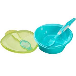 Vital Baby Scoop tál és kanál szett 4 hó+ (kék-zöld)